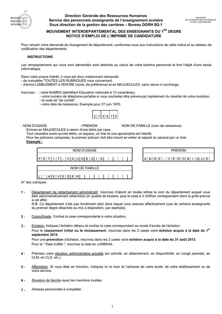 Notice D Emploi De L Imprime De Candidature Manualzz Com