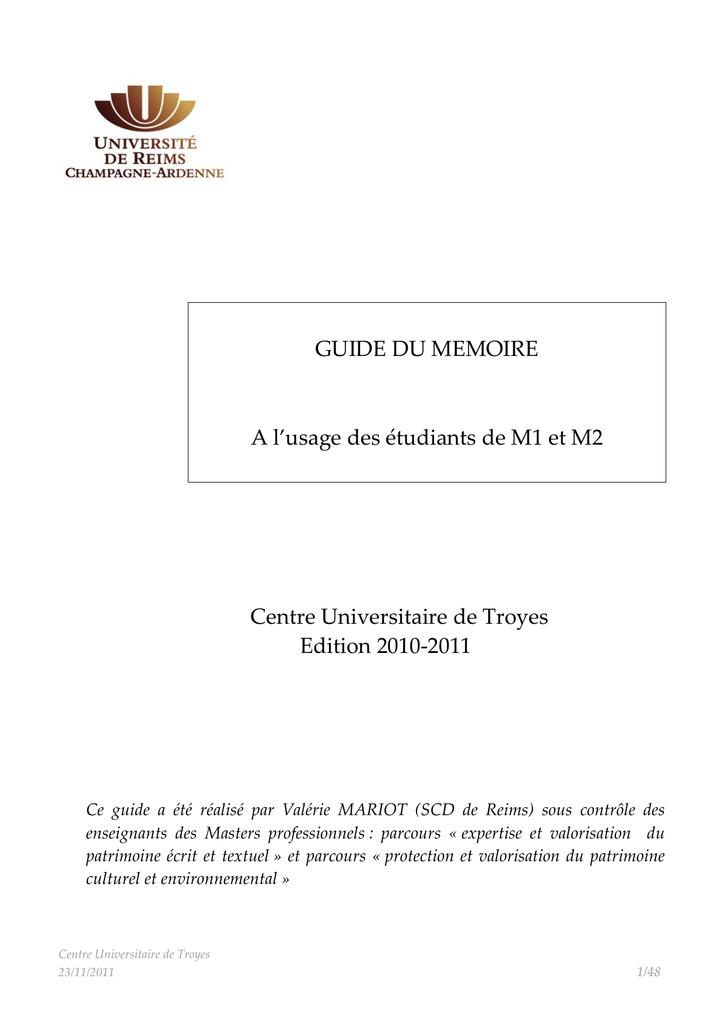 Guide Du Mémoire De Master Formation Patrimoine Troyes