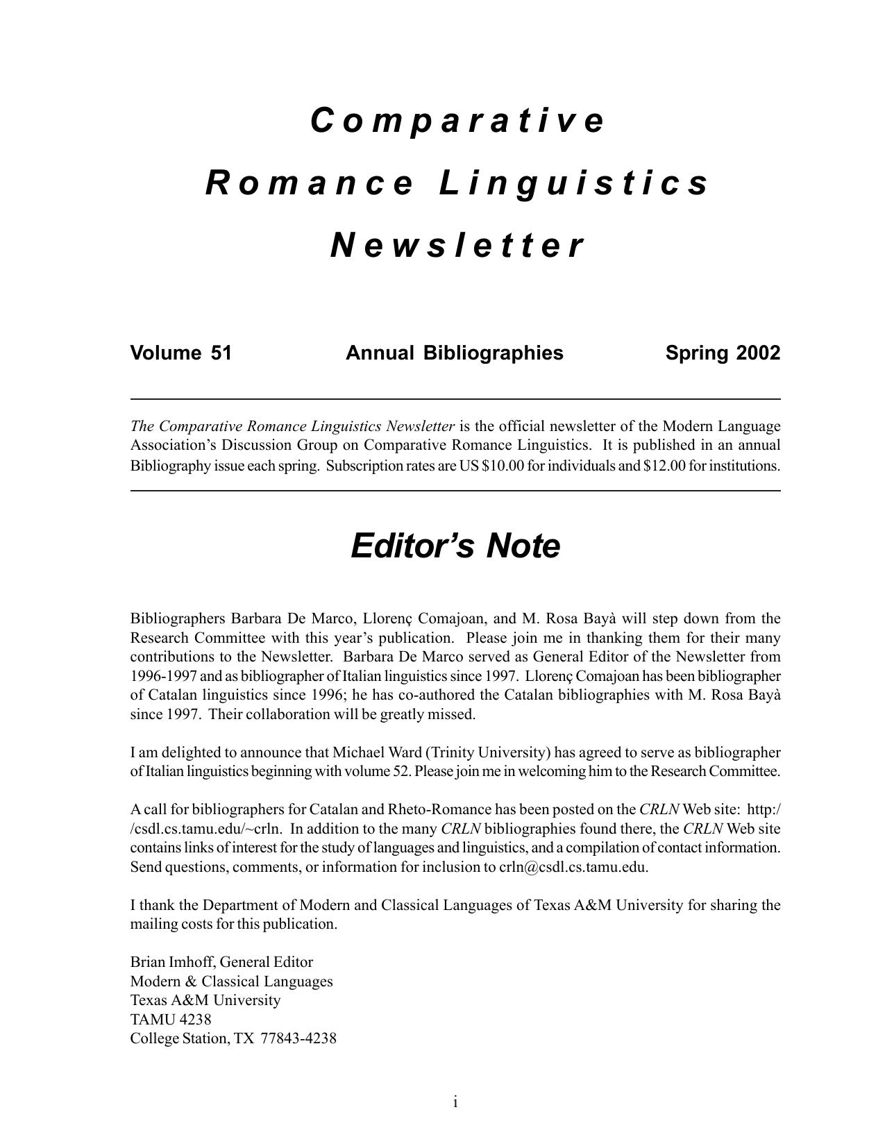 Linguisticae Investigationes. Supplementa _ 6.) Theodore M