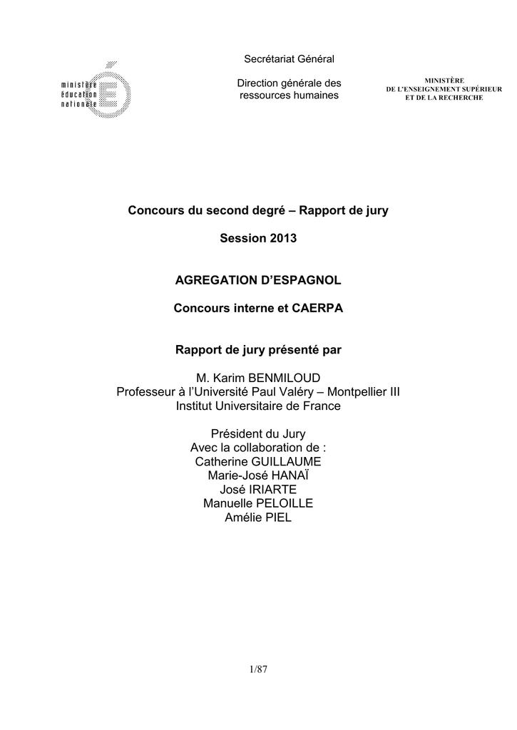 sujet dissertation agregation interne espagnol 2013