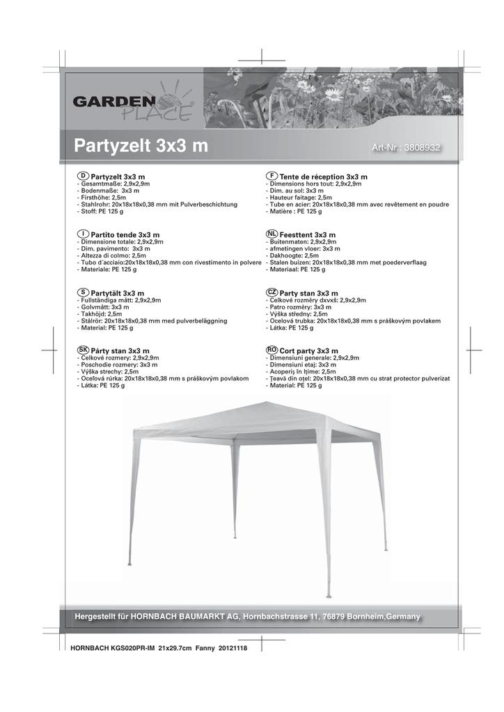 Partyzelt 3x3 m | manualzz.com