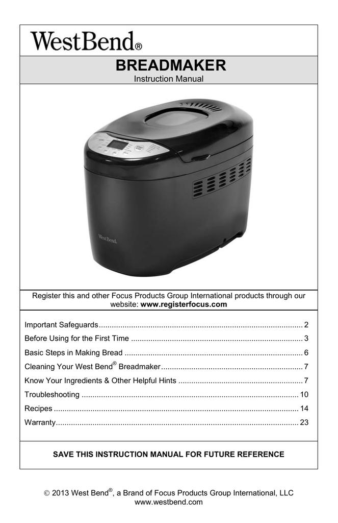 West Bend 41410 User Manual Manualzz