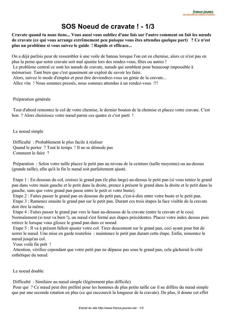 pas cher livraison gratuite fréquent SOS Noeud de cravate ! - 1/3 - France | manualzz.com