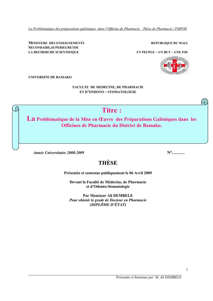 Exemple De These De Doctorat En Pharmacie - Titre De La Thèse
