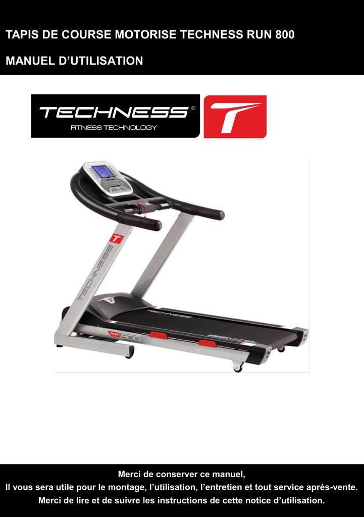 Tapis De Course Motorise Techness Run 800 Manuel D Manualzzcom
