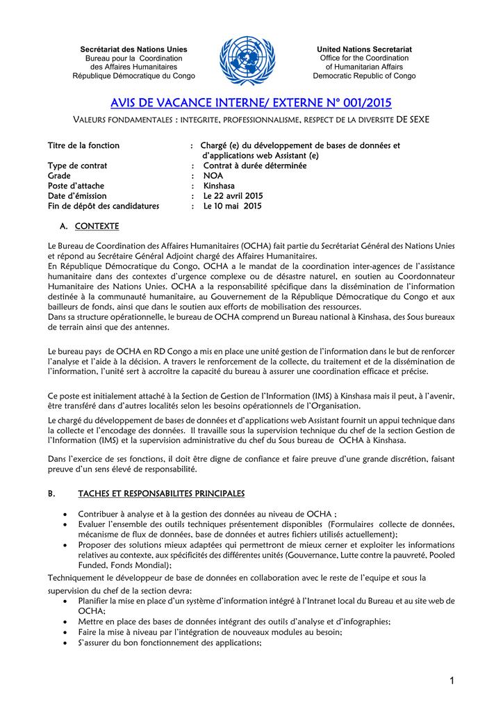 Avis De Vacance Interne Externe N 001 2015 Manualzz