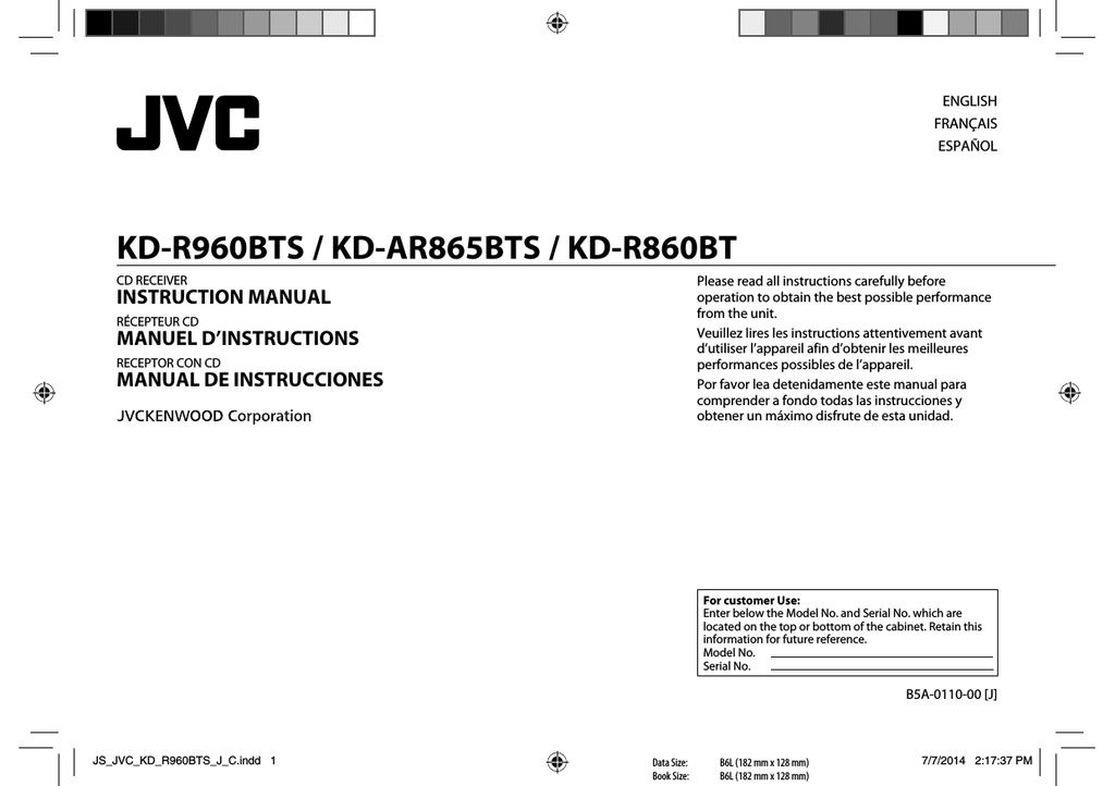 Mode Demploi Jvc Kd R862bt