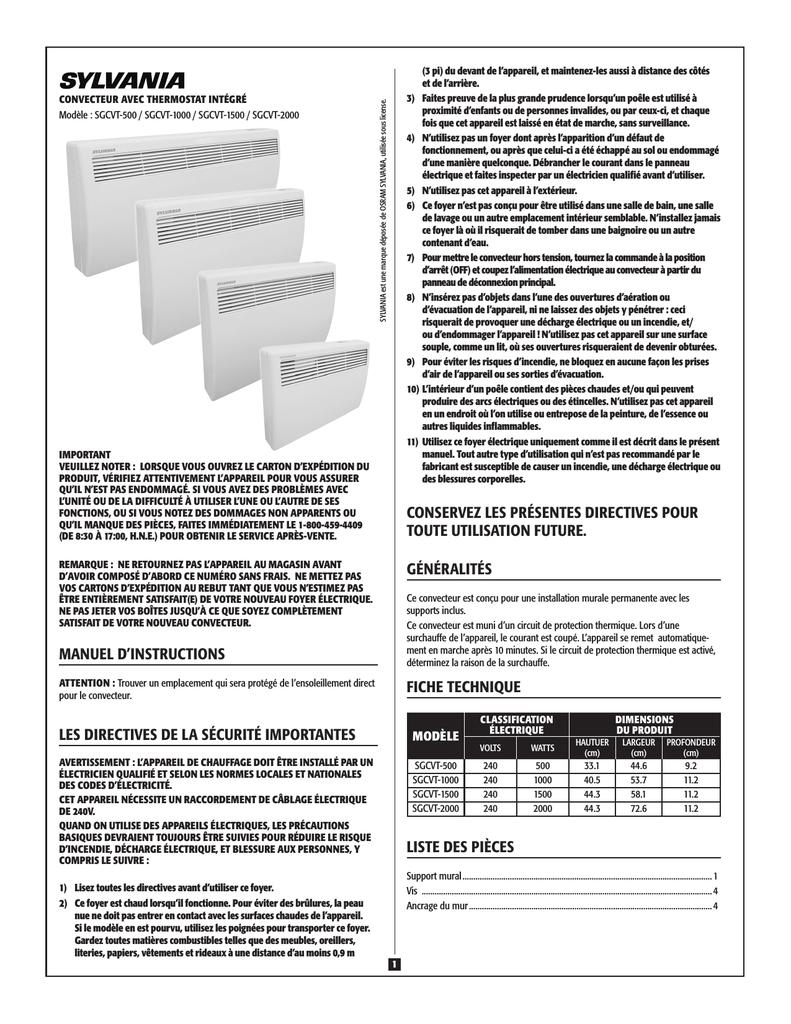 Convecteur Salle De Bain Sylvania ~ manuel d instructions les directives de la s curit importantes