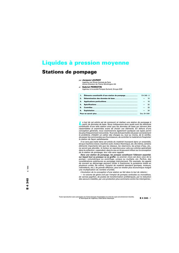 Liquides à Pression Moyenne Stations De Pompage Manualzzcom