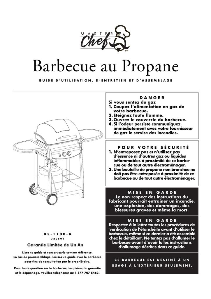 Instructions de raccordement du réservoir de propane