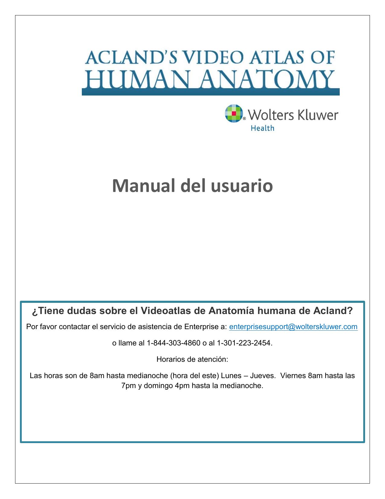 Manual del usuario - Acland. Video Atlas De Anatomia Humana ...