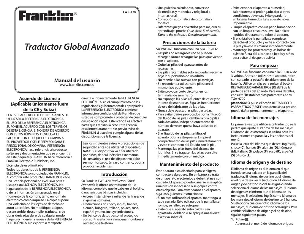 Traductor Global Avanzado Franklin Electronic Publishers