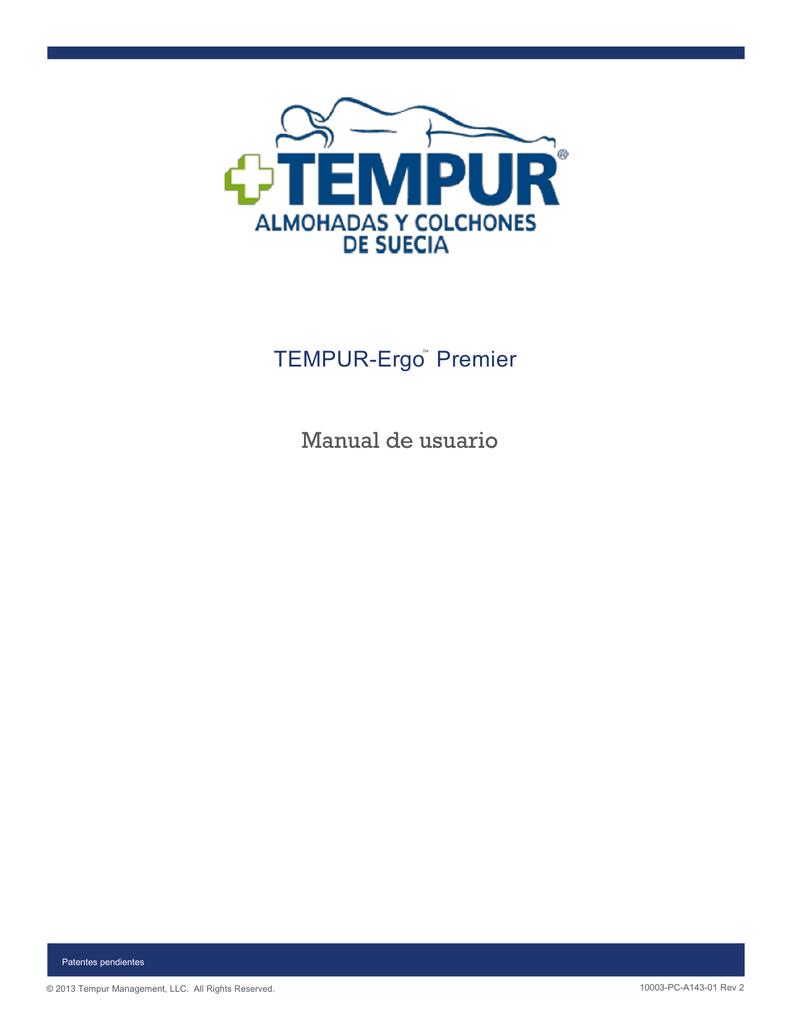 Manual de cama TEMPUR Ergo Premier español | manualzz.com