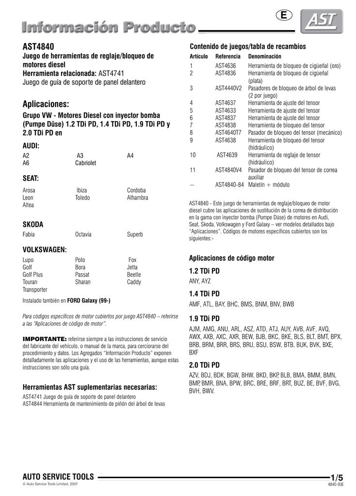 1.2 1.4 1.9 2.0 Tdi Pd SANON Kit de Herramientas de Levas de Cig/üe/ñal Del Motor Diesel para Aud