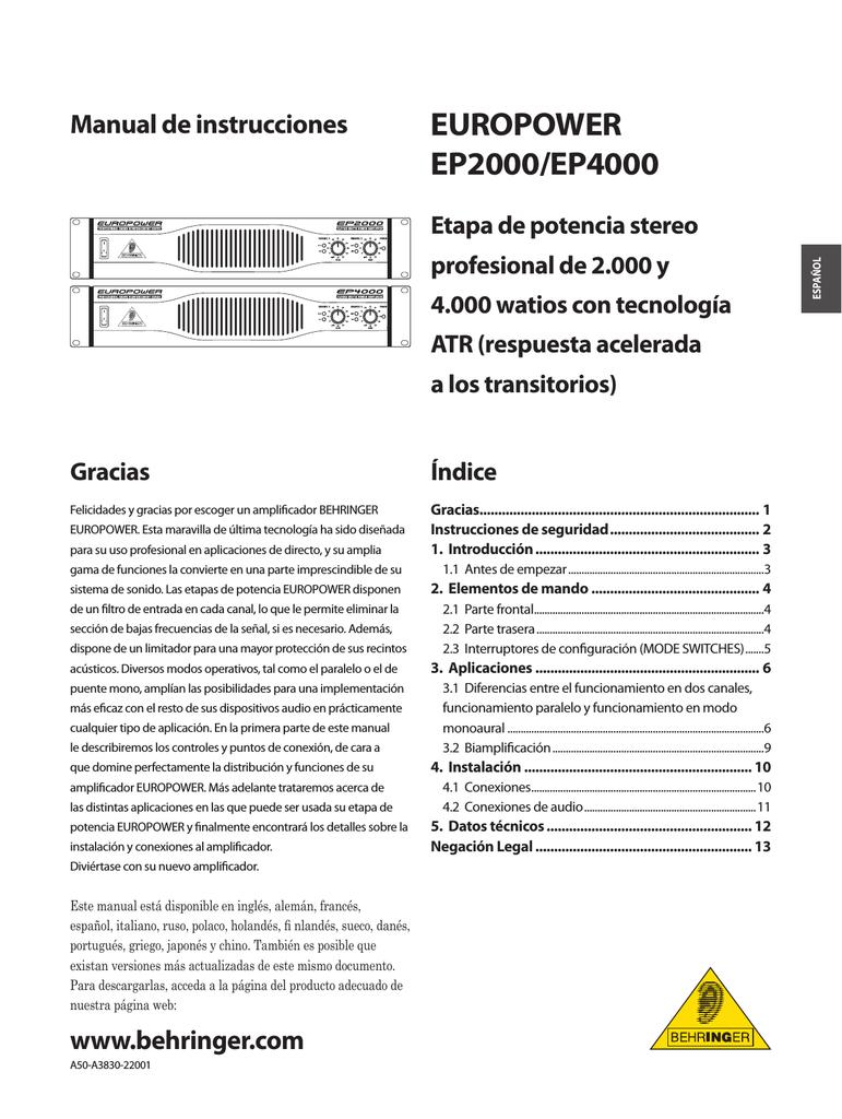 EUROPOWER EP2000/EP4000 | manualzz.com on behringer power amps, behringer ep1500, behringer amplifiers product, behringer 4000 amp,