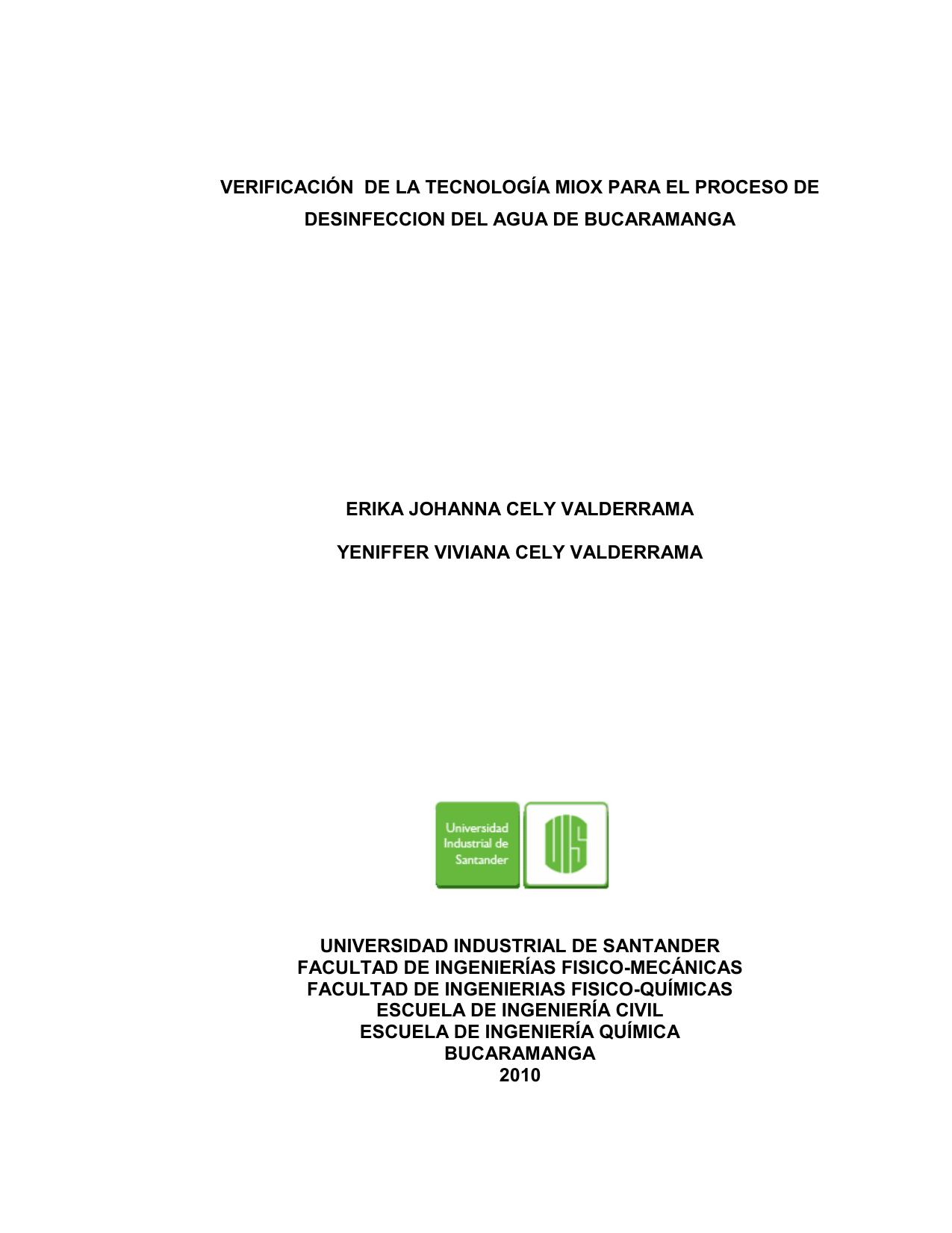 verificación de la tecnología miox para el proceso de desinfeccion ...
