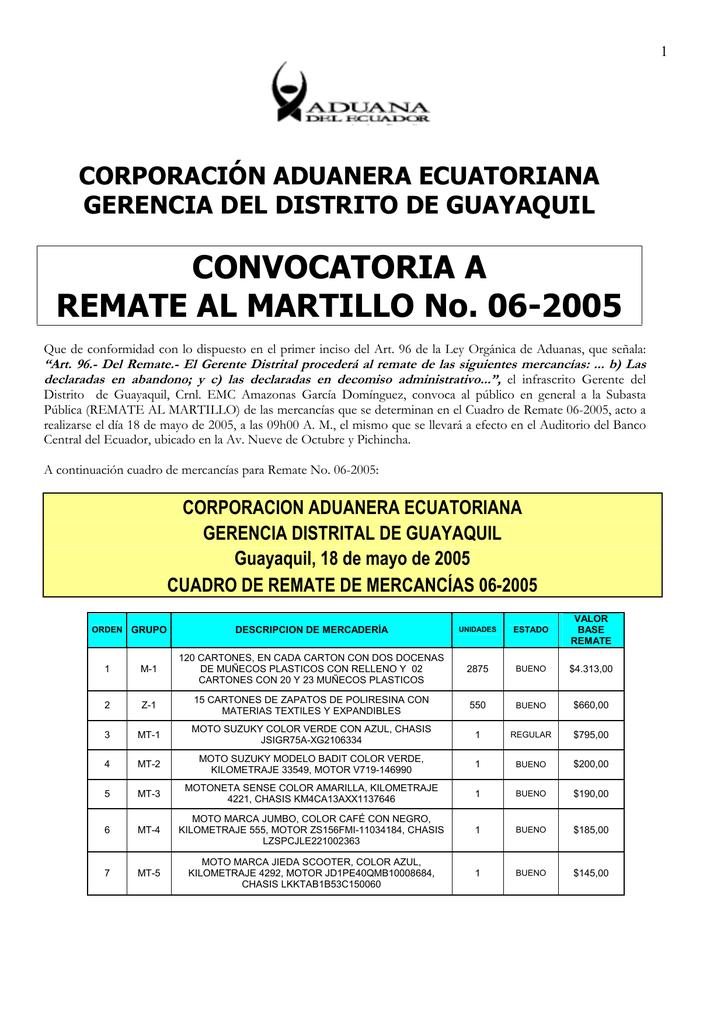 b627f4bb5 CONVOCATORIA A REMATE AL MARTILLO No. 06-2005 | manualzz.com