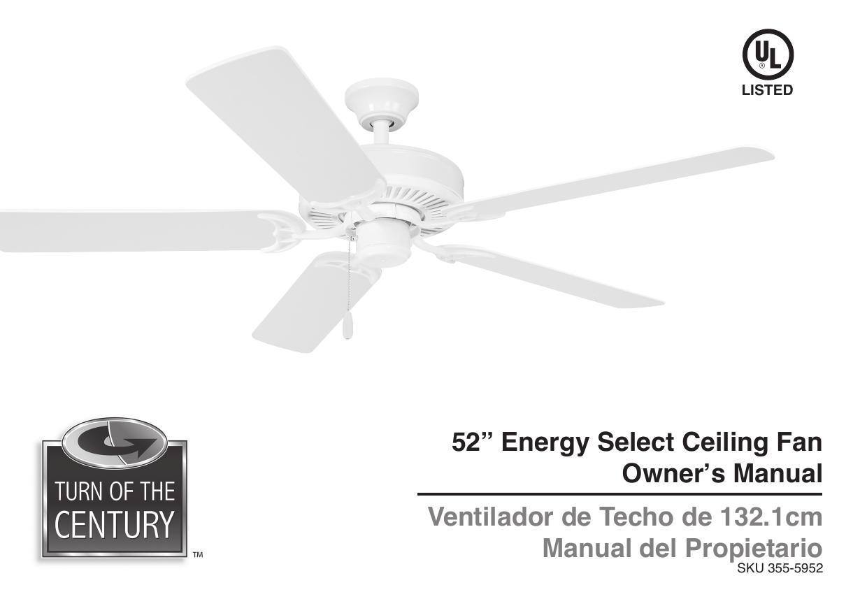 52 Energy Select Ceiling Fan Owner S Manual Ventilador Manualzz