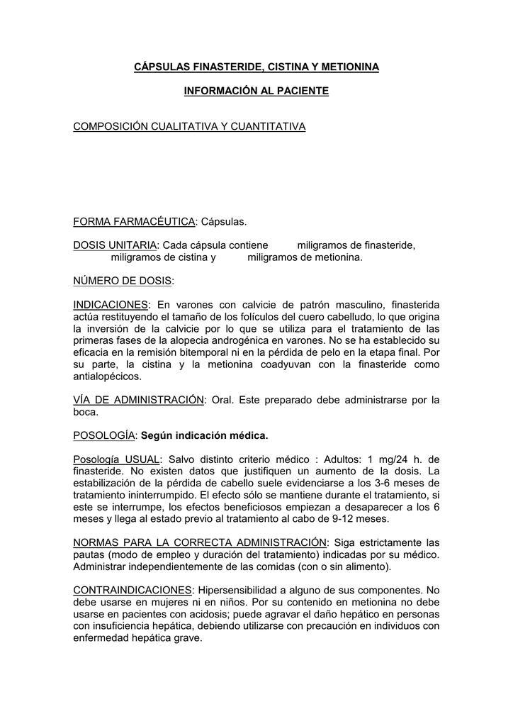 Capsulas Finasteride Cistina Y Metionina Manualzz