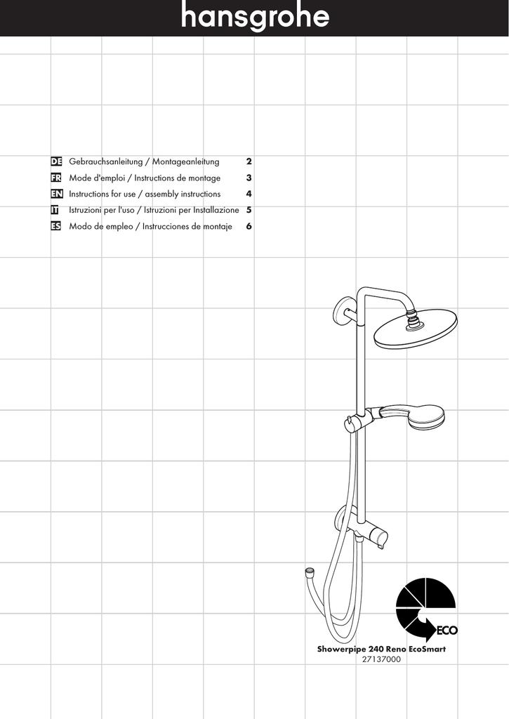 Showerpipe Hansgrohe Manualzzcom - Fliesenversatz