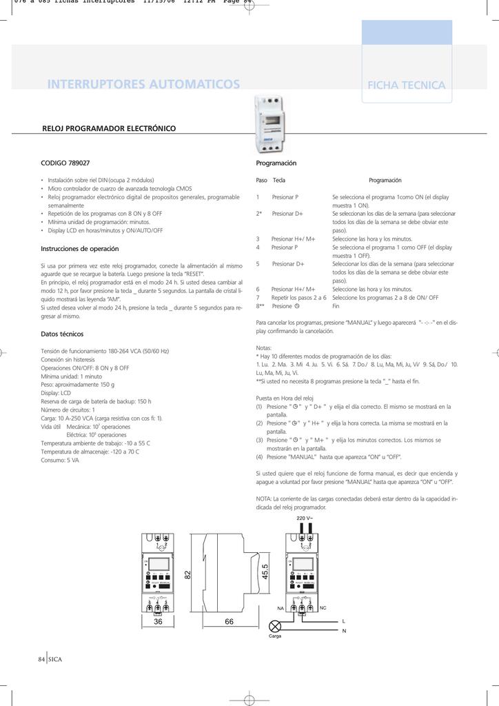 287a475b20cb Manual Reloj Programador Electrónico SICA