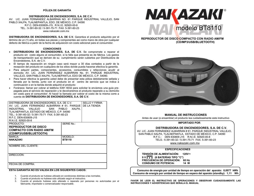 BT8110 - Nakazaki | manualzz.com