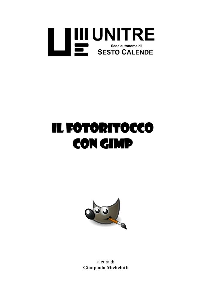 Fotoritocco Con Gimp Unitre Sesto Calende Manualzzcom