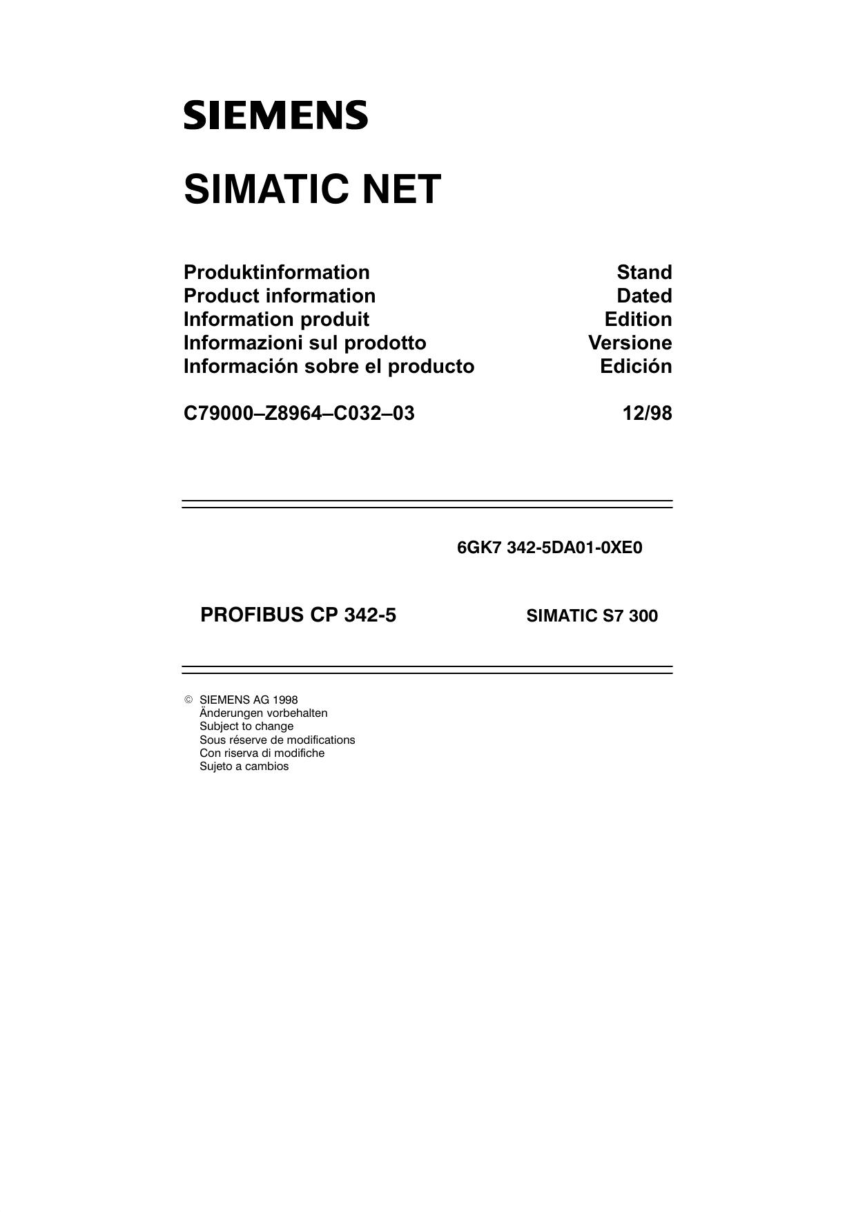 Siemens Simatic Connettore Profibus tipo 6es7 972-0bb10-0xa0