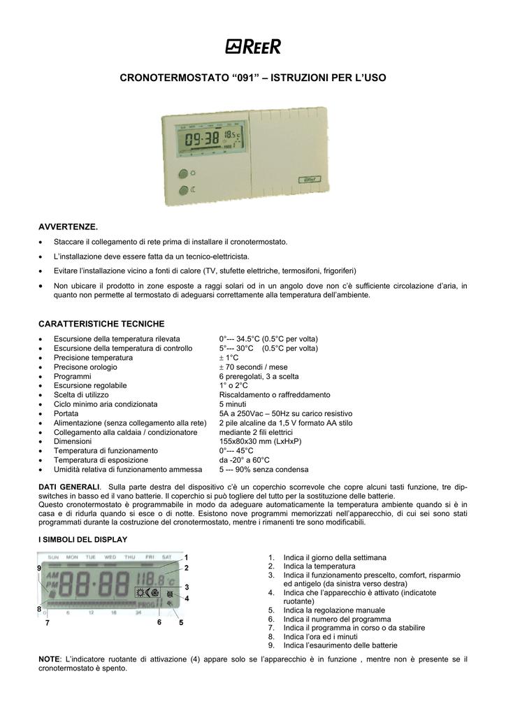 Cronotermostato 091 Istruzioni Per L Uso Manualzz Com