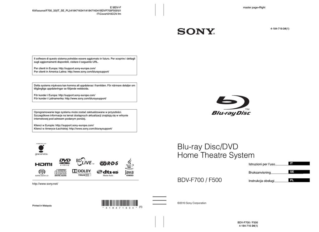 Sony BDV-F700 Istruzioni per l'uso | manualzz com