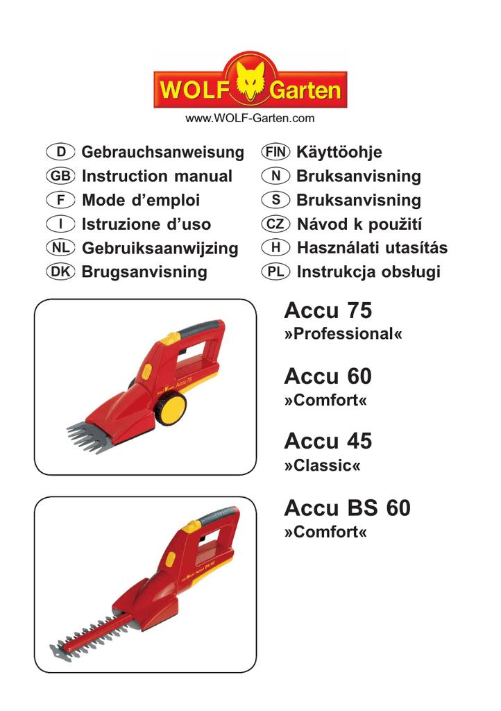 // BS 60 80 Power 80 100 WOLF Strauch Messer ACCU BS EM ACCU 60 75 80 100