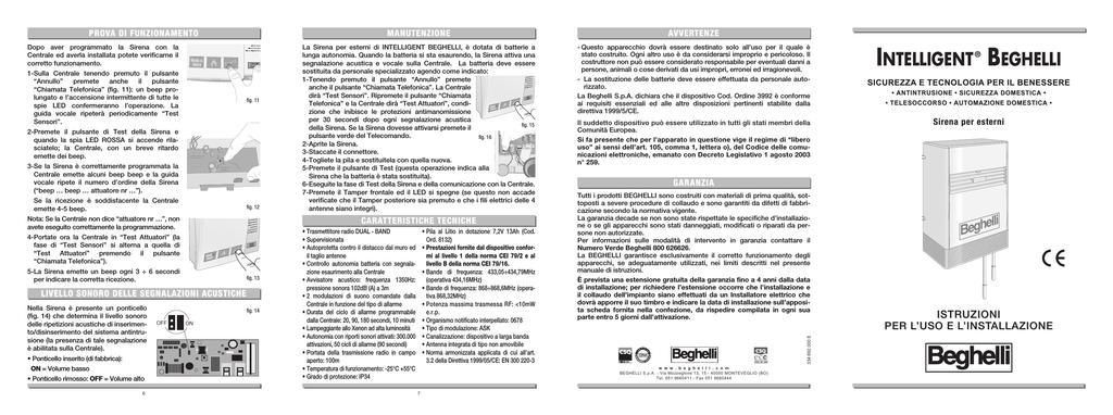 BEGHELLI INTELLIGENT PILA BATTERIA LITIO 7,2V 13ah 8132 SIRENA CENTRALE ALLARME