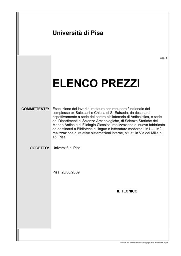 Elenco Prezzi Università Degli Studi Di Pisa Manualzzcom
