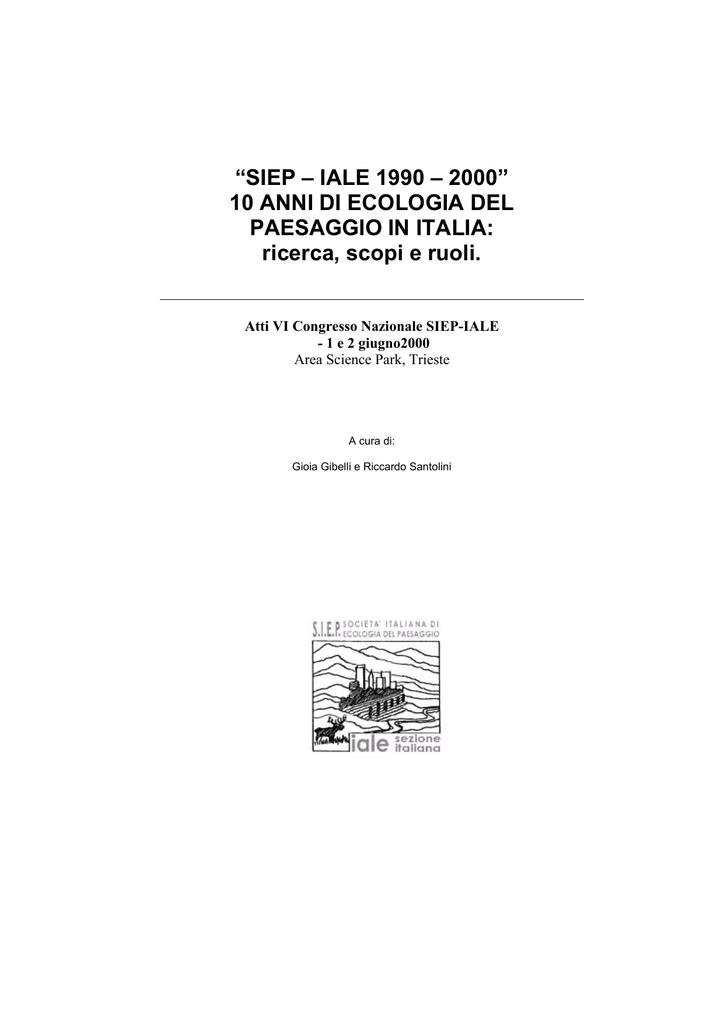 SIEP – IALE 1990 – 2000 - Società Italiana di Ecologia del