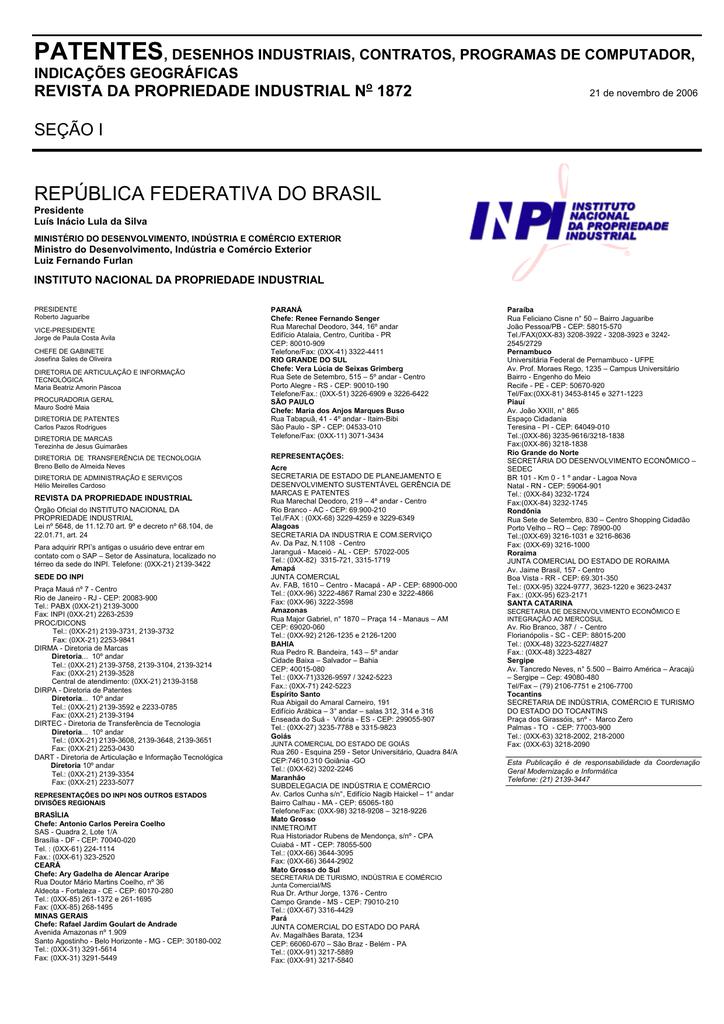 13dd0367faa DIRETORIA DE PATENTES - Revista da Propriedade Industrial