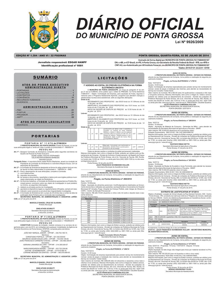 Dia 02 de Julho de 2014 - Prefeitura Municipal de Ponta Grossa    manualzz.com 23323827fa