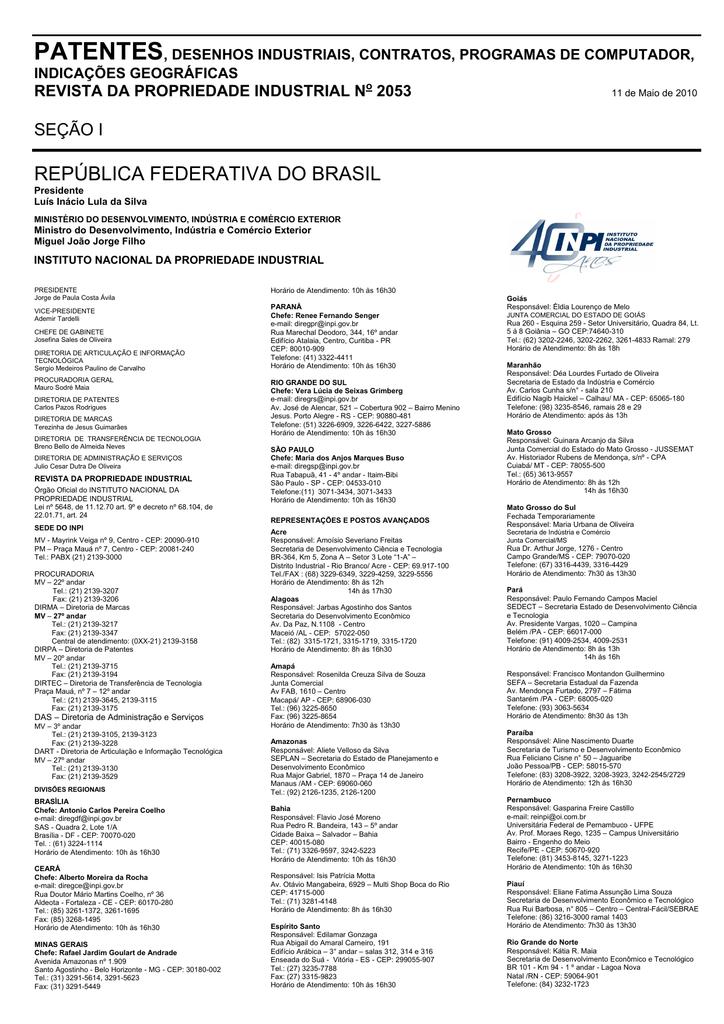 f006cf3eb DIRETORIA DE PATENTES - Revista da Propriedade Industrial