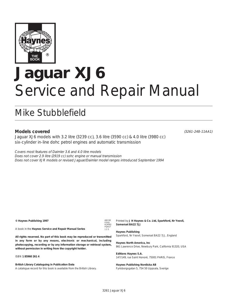 Jaguar Xj6 User Manual Manualzz