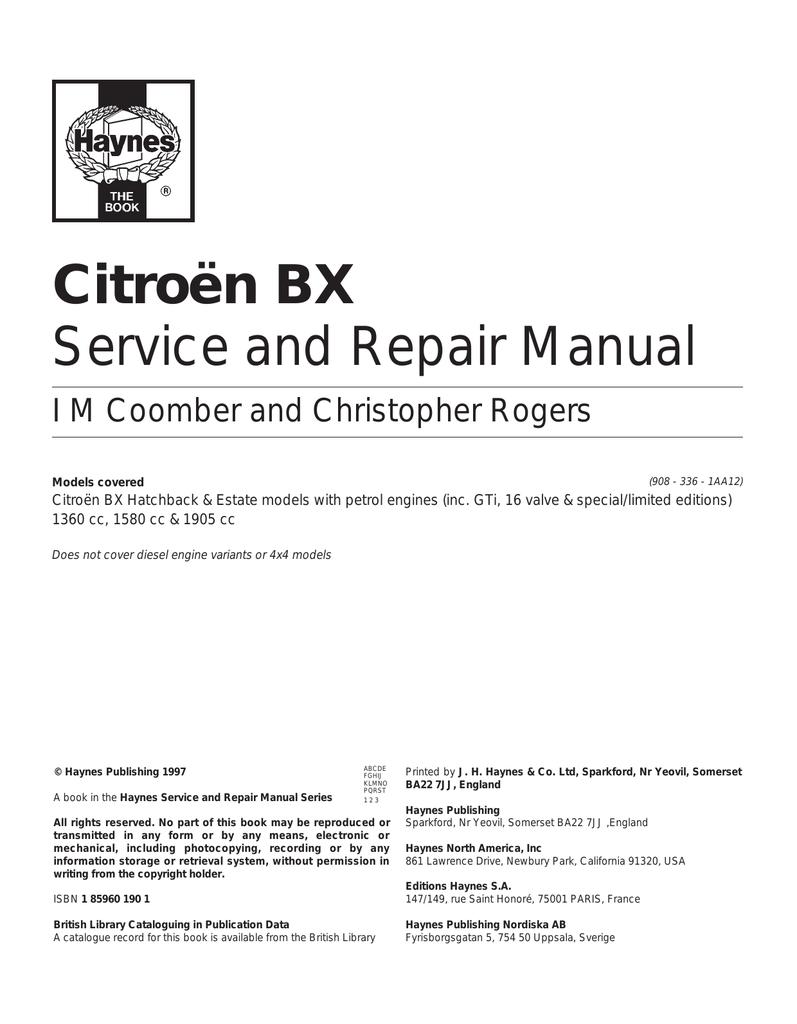 haynes bx service manual 83 92 manualzz com rh manualzz com Citroen AX Citroen AX