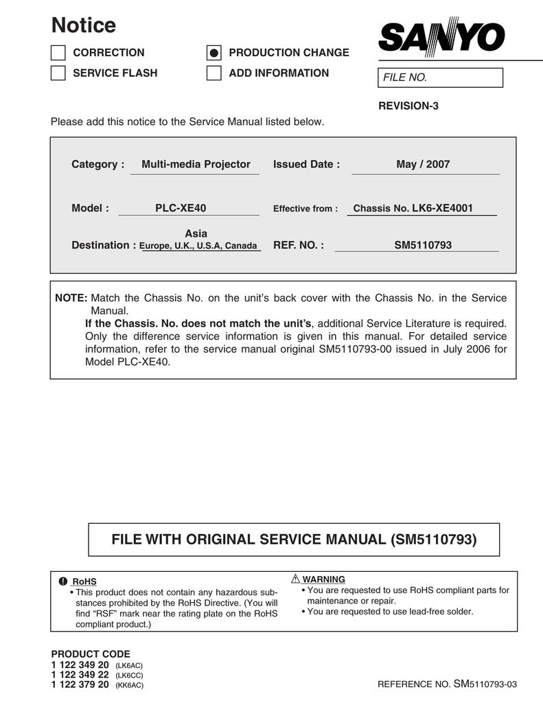 SERVICE MANUAL PLC-XE40 | manualzz com