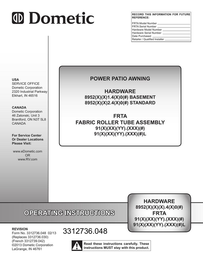 Dometic 9100 Power Awning Manual Manualzz