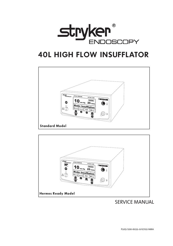 Stryker 40L High Flow Insufflator Manual | manualzz.com on