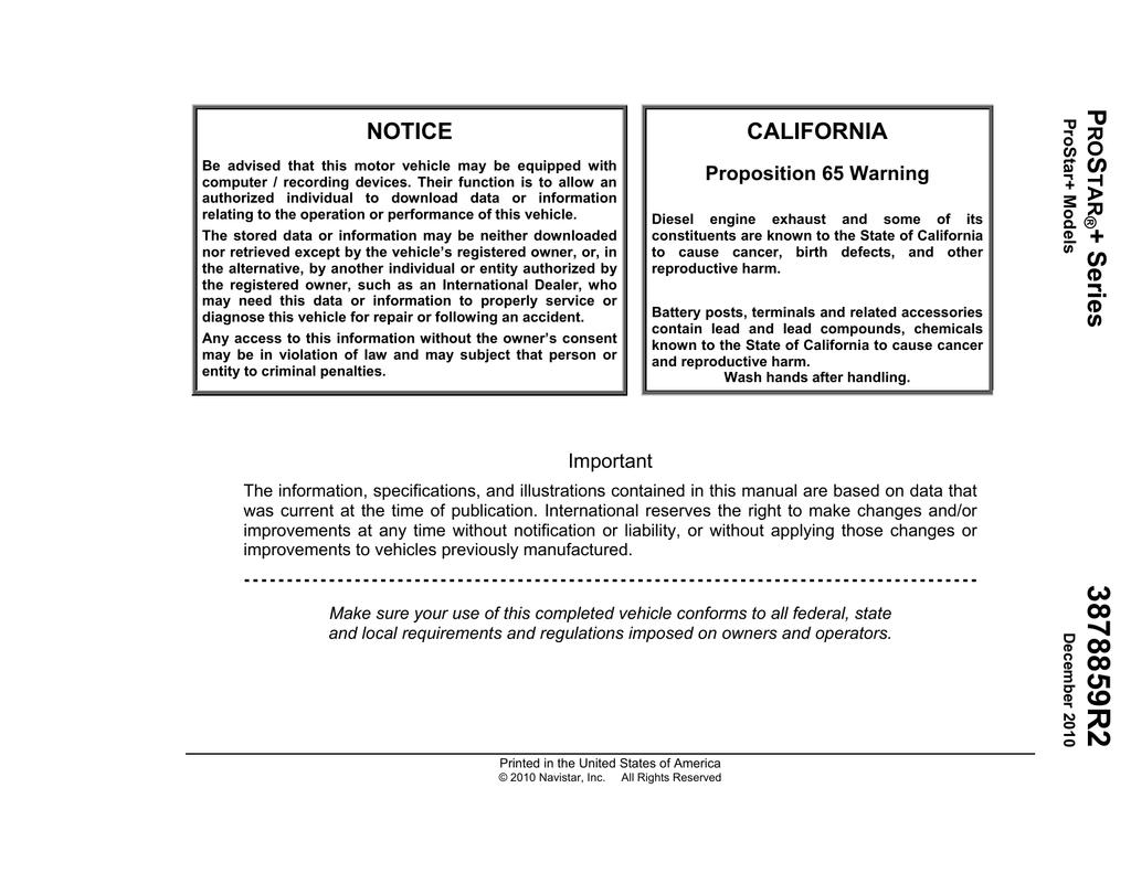International Pro Star Operator`s Manual | manualzz com