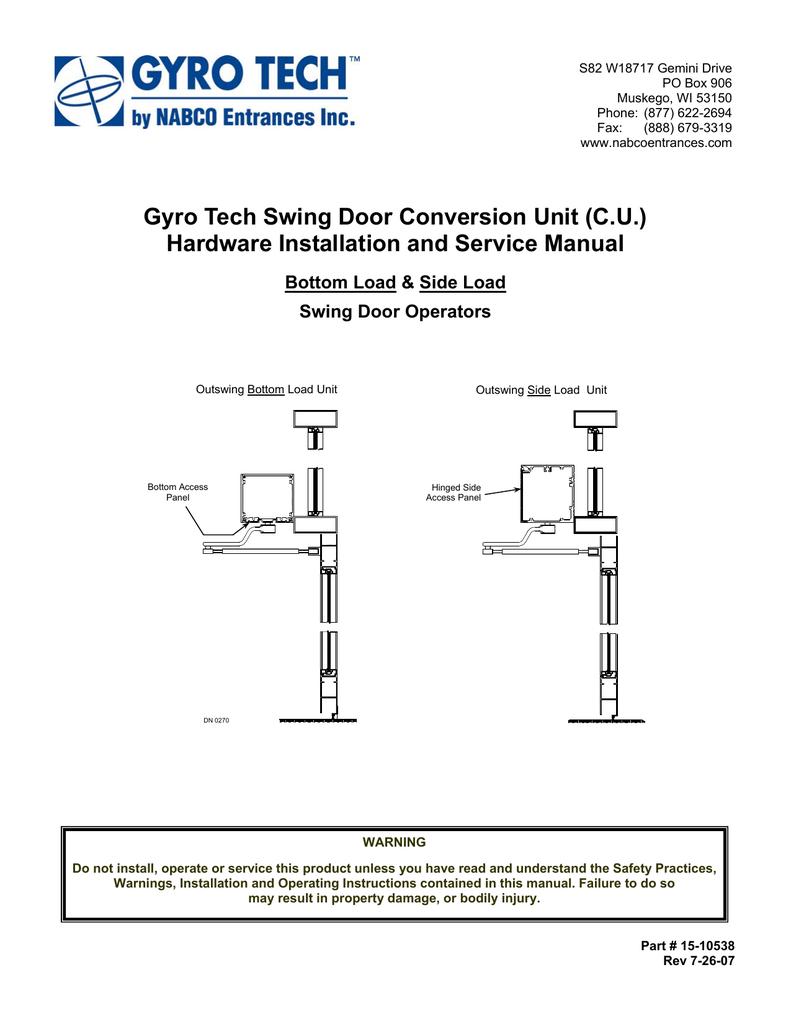 gyro tech swing door conversion unit manualzz com rh manualzz com napco installation manual 1/2 ton nabco gt 710 installation manual
