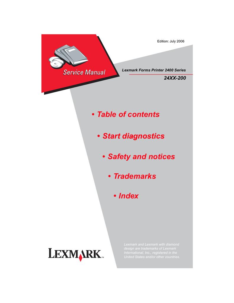 Mnl 8228 Lexmark 2400 Series 24xx 200 Service Parts Manual 2019