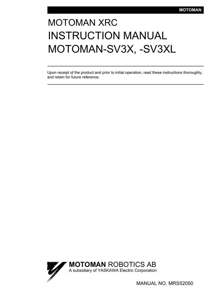 INSTRUCTION MANUAL MOTOMAN-SV3X, | manualzz com