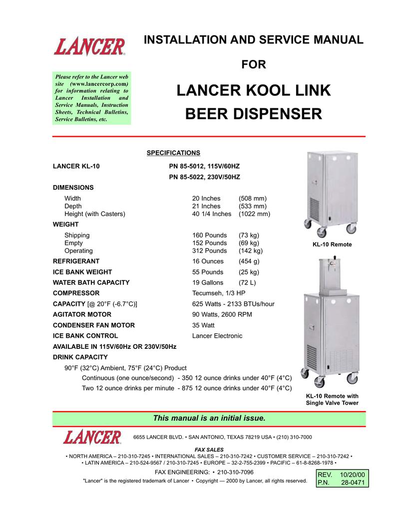 Lancer Kool Link Beer Dispenser Wiring Diagram For Keg