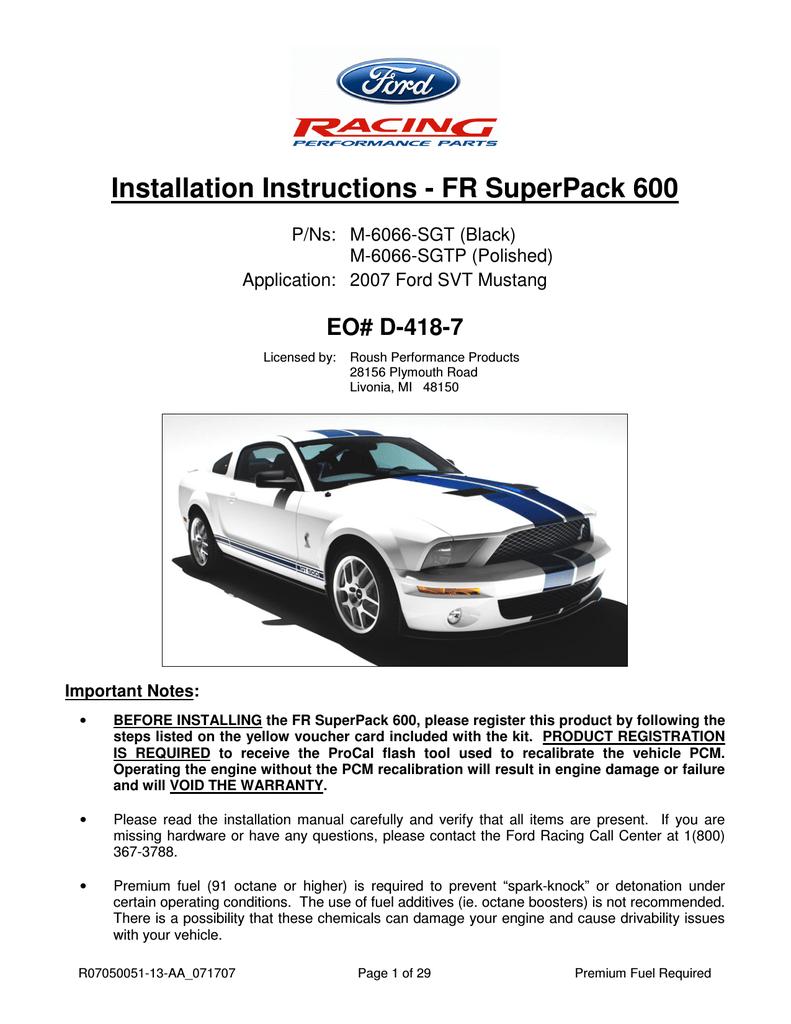 Installation Instructions - FR SuperPack 600 | manualzz com