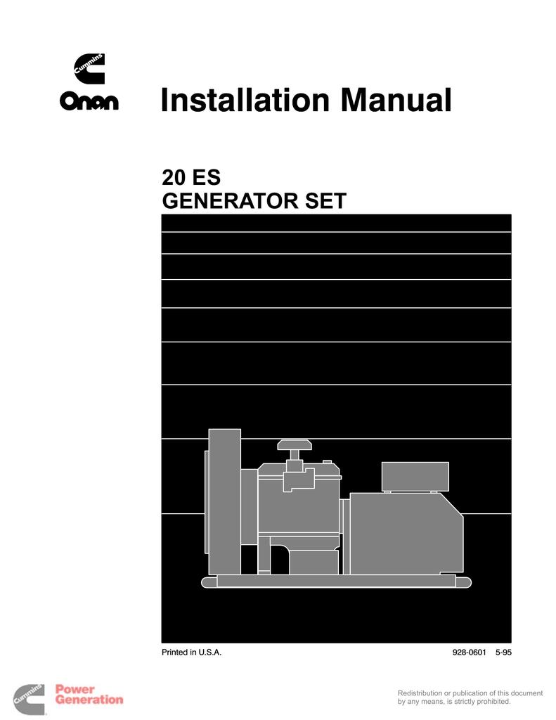 20 ES GENERATOR SET - Aaron Equipt Company | manualzz.com