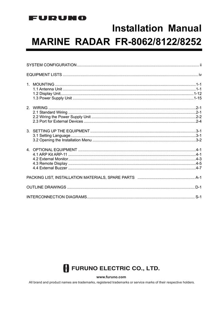 [SCHEMATICS_48IS]  Installation Manual MARINE RADAR FR-8062/8122/8252 | Manualzz | Furuno Radar Wiring Harness |  | manualzz